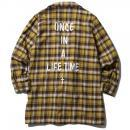 MUSIC SAVED MY LIFE / FLANNEL GOWN SHIRT (YELLOW)