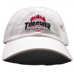 THRASHER X HUF / TDS CURVED BRIM 6 PANEL (WHITE)