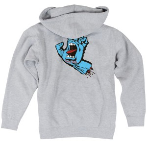 SANTA CRUZ / SCREAMING HAND ZIP HOODIE (GREY HEATHER)