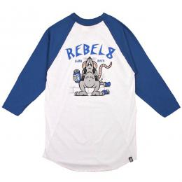 REBEL8 /CURB RATS RAGLAN TEE (BLUE/WHITE)