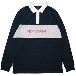 SPITFIRE / GEARY L/S RUGBY SHIRT (NAVY/HEATHER GREY/WHITE)