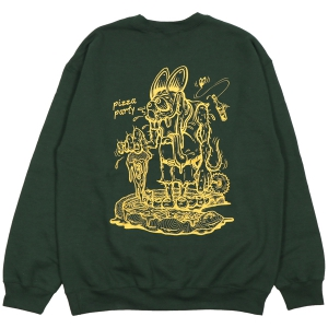 LZBN / PIZZA PARTY CREWNECK SWEAT (DARK GREEN)