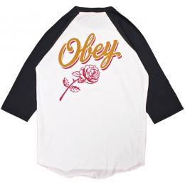 OBEY / CARELESS WHISPERS RAGLAN TEE (WHITE/BLACK)