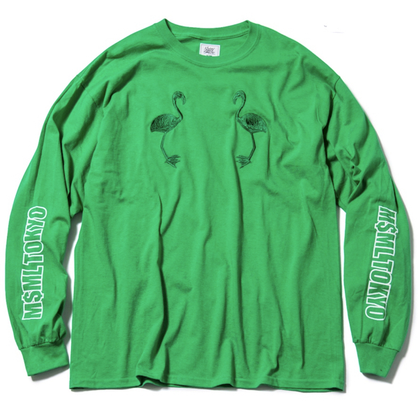 MSML / FLAMINGO EMBROIDERY L/S TEE (GREEN)