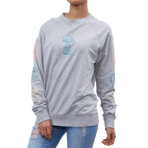 REBEL8 / WOMENS FAULTS CREWNECK (GREY HEATHER)