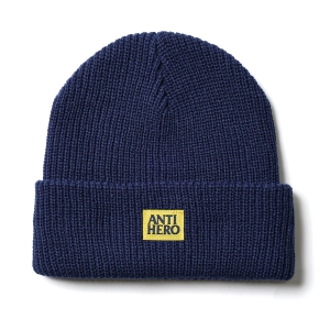 ANTIHERO / LIL BLACK HERO CUFF BEANIE (NAVY/YELLOW)