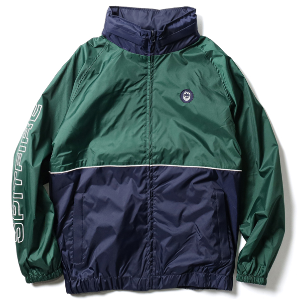 SPITFIRE / CLASSIC 87' SLEEVE CUSTOM HOODED WINDBREAKER (DARK GREEN/NAVY)