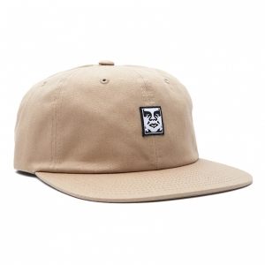 OBEY / ICON FACE 6 PANEL STRAPBACK CAP (LIGHT KHAKI)
