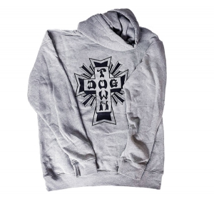 DOGTOWN / CROSS LOGO PULLOVER HOODIE (ATHLETIC GREY/BLACK)