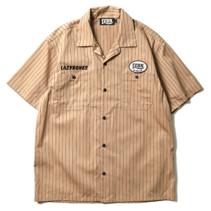 LZBN / OVAL LOGO PATCH S/S STRIPE WORK SHIRT (OCHER/BROWN)