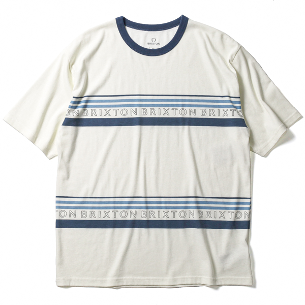 BRIXTON / HILT ALPHA LINE S/S KNIT (OFF WHITE/JOE BLUE)