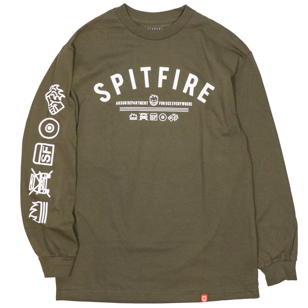 SPITFIRE / BURN DIVISION L/S TEE (MILITARY GREEN/WHITE)