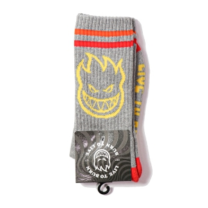 SPITFIRE / BIGHEAD SOCKS (HEATHER GREY/YELLOW/RED)