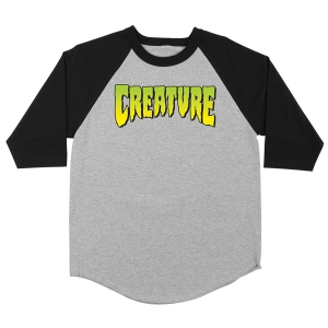 CREATURE / LOGO RAGLAN 3/4 TEE (ATHLETIC HEATHER/BLACK)