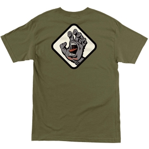 SANTA CRUZ / SCREAMING HAND BADGE TEE (MILITARY GREEN)
