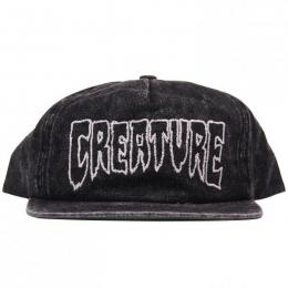 CREATURE / BURNOUT ADJUSTABLE SNAPBACK CAP (DISTRESSED BLACK)