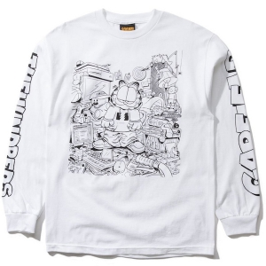 THE HUNDREDS / MESSY GARFIELD L/S TEE (WHITE)