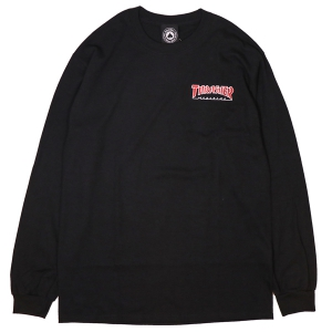 THRASHER /  EMBROIDERED OUTLINED  L/S TEE (BLACK)
