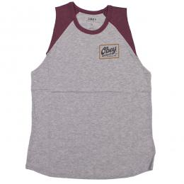 OBEY / PUB SCRIPT GORDON CUT OFF RAGLAN TEE (H.GREY/WINE)