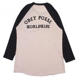 OBEY / OBEY POSSE WORLDWIDE SOLD OUT RAGLAN TEE (PINK/BLACK)