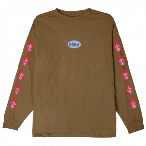 OBEY / OBEY CREEPER FLAME BASIC L/S TEE (TAPENADE)