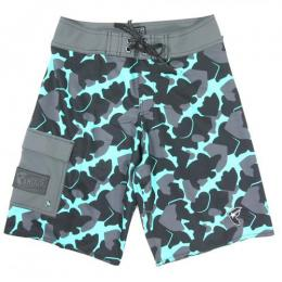 FAMOUS STARS AND STRAPS / BUBBLE BOH CAMO BOARDSHORT (CHARCOAL)
