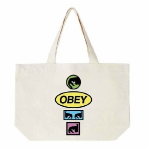 OBEY / OBEY STACKED TOTE BAG (NATURAL)