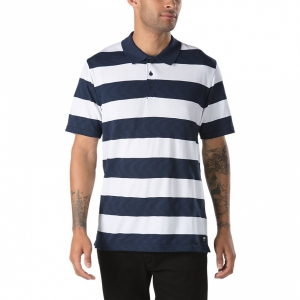 VANS / VANS X SPIT FIRE POLO SHIRT (WHITE/DRESS BLUES)