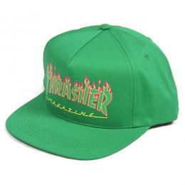 THRASHER / FLAME LOGO STRUCTURED SNAPBACK CAP (GREEN)
