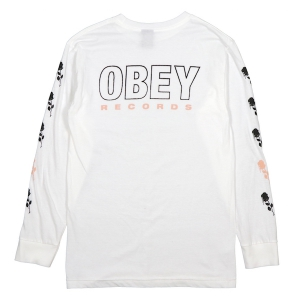 OBEY / OBEY RECORDS SALVAGE L/S TEE (WHITE)
