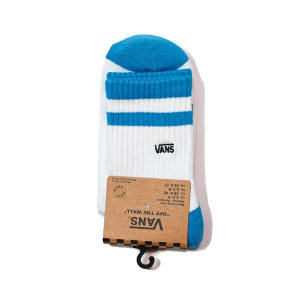 VANS / VANS HALF CREW SOCK (WHITE/BLUE JEWEL)