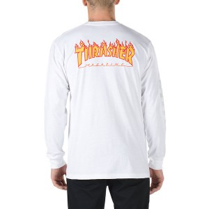 VANS / VANS X THRASHER CHECKER L/S TEE (WHITE)