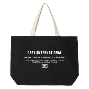 OBEY / OBEY INTL. CHAOS & DISSENT TOTE BAG (BLACK)