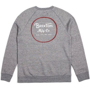BRIXTON / WHEELER CREW FLEECE (HEATHER GREY/BRICK)