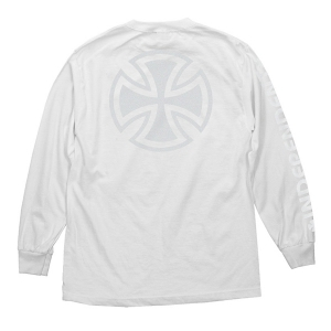 INDEPENDENT / BAR/CROSS FADE OUT L/S TEE (WHITE)