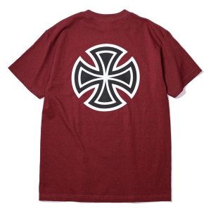 INDEPENDENT / BAR/CROSS TEE (BURGUNDY)