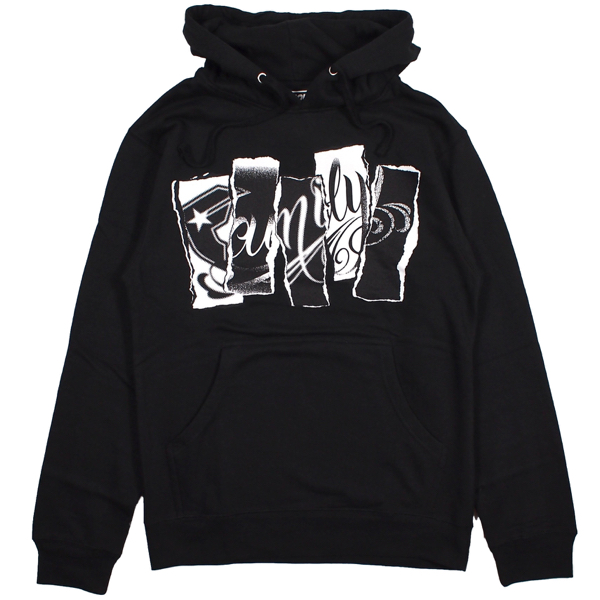 FAMOUS STARS AND STRAPS / FAMILY TORN PULLOVER HOODIE (BLACK)