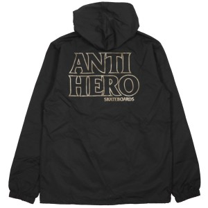 ANTIHERO / BLACKHERO EMB HOODED COACHES JACKET (BLACK/BROWN)