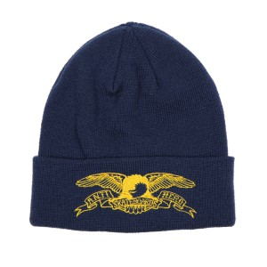 ANTI HERO /  EAGLE OUTLINE EMB CUFF BEANIE (NAVY/YELLOW)