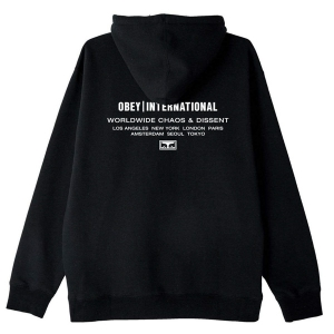 OBEY / OBEY INTL. CHAOS & DISSENT PULLOVER HOODIE (BLACK)