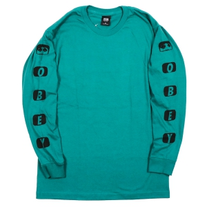 OBEY / SCENE MISSING BASIC L/S TEE (TEAL)