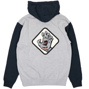 SANTA CRUZ / SCREAMING HAND BADGE PULLOVER HOODIE (GREY HEATHER/SLATE BLUE)