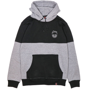 SPITFIRE / STOCK BIGHEAD EMB BLOCKED PULLOVER HOODIE (BLACK/GUNMETAL HEATHER)