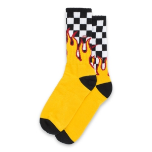 VANS / FLAME CHECK CREW SOCK (BLACK/WHITE CHECK/FLAME)
