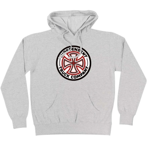 INDEPENDENT / RED/WHITE CROSS PULLOVER HOODIE (GREY HEATHER)