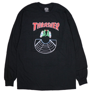 THRASHER / DOUBLES L/S TEE (BLACK)