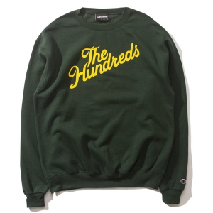 THE HUNDREDS / SLANT CHAMPION CREWNECK SWEAT (DARK GREEN)