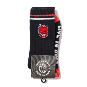 SPITFIRE / BIGHEAD FILL EMB SOCKS (BLACK/RED/WHITE)