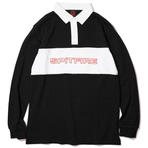 SPITFIRE / GEARY L/S RUGBY SHIRT (BLACK/WHITE)
