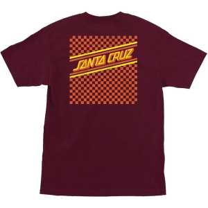 SANTA CRUZ / CHECK STRIP HUE TEE (BURGUNDY)